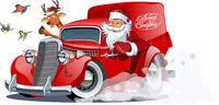 Cartoon retro Christmas van isolated on white background