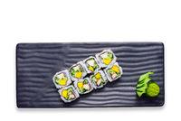 Sushi roll with prawn, mango, cucumber. California Sushi.