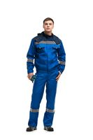 Man in blue work costume isolated view