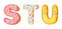 Donut icing upper latters - S, T, U. Font of donuts. Bakery sweet alphabet. Donut alphabet latters A b C isolated on white background