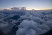 Dreamy aerial cloud landscape flying