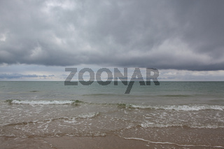 On the beach in Skagen after heavy rain, Denmark.