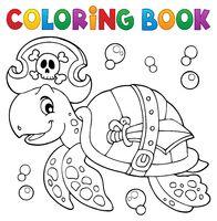 Coloring book pirate turtle theme 1