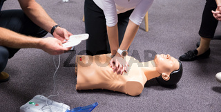 First Aid Training. Defibrillator CPR Practice