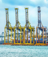 Freight cranes in commercial port