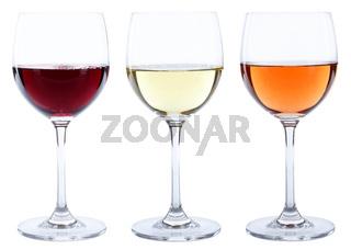 Weingläser Wein Gläser Weißwein Rotwein Rose Alkohol freigestellt Freisteller