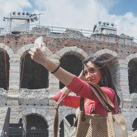 Tourist taking selfie photo
