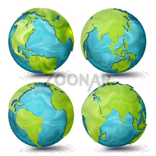 World Map Vector. 3d Planet Set. Earth With Continents. Eurasia, Australia, Oceania, North America, South America, Africa, Europe. Sphere Flip Different Angles. Isolated Illustration