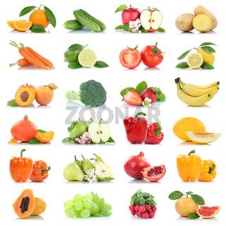 Obst und Gemüse Früchte viele Apfel Tomaten Orangen Weintrauben Farben Freisteller freigestellt isoliert