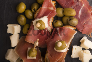 Spanish food tapas. Cooking, chopped
