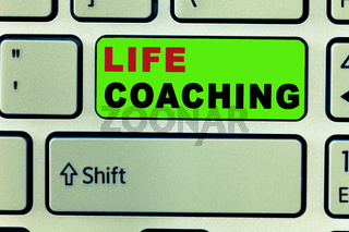 Text sign showing Life Coaching. Conceptual photo Improve Lives by Challenges Encourages us in our Careers