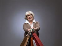 Senior lady with shopping bags