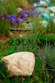 The stone lies on the moss, cereals grow nearby.Garden design