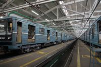Subway train service depot. Moscow, Russia