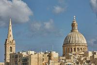 Church and traditional architecture in Valletta in Malta