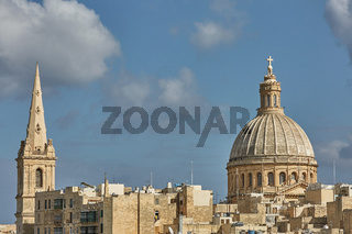 Church and traditional architecture in Valletta in Malta