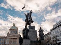 Saint Wenceslaus statue on Vaclavske Namesti in Prague, Czech Republic