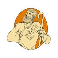 Prophet Moses Ten Commandments Drawing Color
