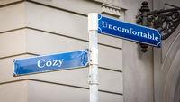 Street Sign to Cozy versus Uncomfortable