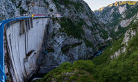 Mratinje Dam on Piva lake (Pivsko Jezero) view in Montenegro.