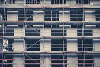 scaffolding on building facade under construction  , frontal
