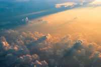 Aerial view of clouds at sunset