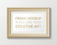 Realistic rectangular gold frame template, frame on the wall mockup with decorative borders