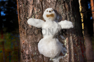 figures are made of snow glued to any surface