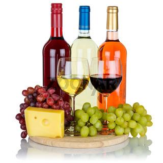 Wein Käse Weine Weißwein Weisswein Rotwein Rose Quadrat Weintrauben Trauben isoliert Freisteller