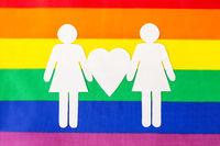 female couple pictogram on rainbow flag background