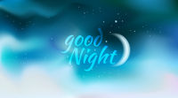 horizontal wide blurred dsrk blue night sky background - night sky colors - Good Night sign and Moon