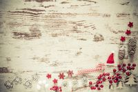 Retro Flat Lay, White Wooden Background, Christmas Decoration, Copy Space
