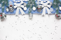 Christmas silver decorations background for greetings card