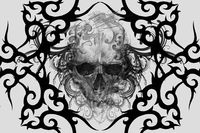 Skull. Tattoo design over grey background. textured backdrop. Artistic image