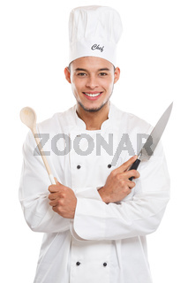 Cook cooking young man male job isolated on white
