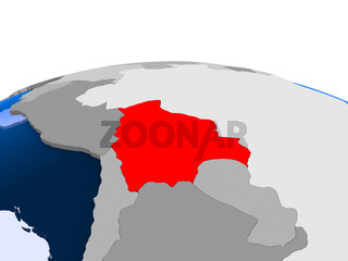 Bolivia on political globe