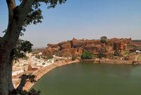 View of Agastya Lake and the North fort, Badami, Karnataka.