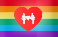 female couple pictogram on red heart over rainbow