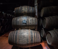 Port wine barrels in cellar, Vila Nova de Gaia, Porto, Portugal