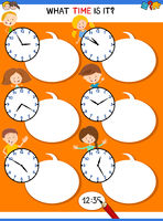 telling time educational task with funny kids