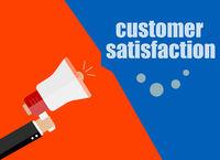 flat design business concept. customer satisfaction. Digital marketing business man holding megaphone for website and promotion banners.