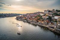 Sunset panoramic view of Porto waterfront, Portugal