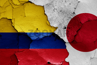 flags of Colombia and Japan