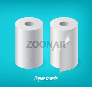 Realistic paper roll set, kitchen towel, cash tape vector