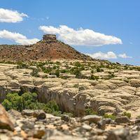 Piled rocks on rocky terrain in Moab Utah