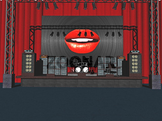 Bühne mit Lautsprechern und Vorhängen