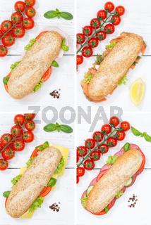 Baguette Vollkorn Brötchen Collage Schinken Salami Käse Fisch Hochformat von oben auf Holzbrett