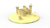 3d rendering of a sandcastle isolated in white background