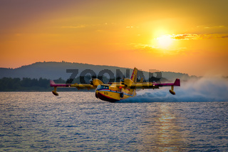 Water bomber CL-415 Canadair Bombardier in action