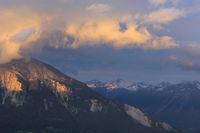 Sunset scene seen from Obermutten, Switzerland.